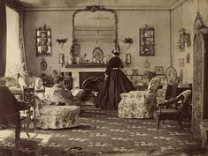 Love this. Interior of Room (1860s).  But what is in the forefront on the floor? Looks like a fish and bird skeleton next to a fur rug or something. Odd.