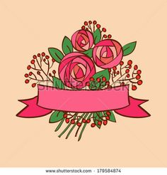 Vintage rose bouquet with ribbon - stock vector