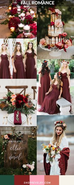 Fall Romance: Cabernet, muted peach, forest green, and soft cream color palette for fall weddings. Convertible tulle Rosalie Bridesmaid dress perfectly compliments this boho bride with Burgundy shawl and bright fall flower crown. Updated naked cake with bright flowers and figs, add moody romance with dark florals and greenery, and add a touch of sophistication with bright yellows and gold accents to create this whimsical and classic fall wedding vibe.