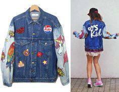 90S KID Amazing denim jacket oversized hand painted by DSMjeans