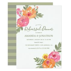 Spring Wedding watercolor flowers Rehearsal Dinner Card - spring gifts style season unique special cyo