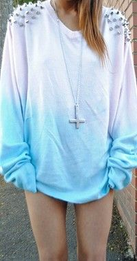Cute White N Blue Long Sleeved Shirt