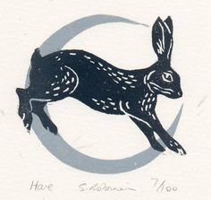 'Hare' by Sarah Robinson (linocut) Bunny Tattoos, Rabbit Tattoos, Art And Illustration, Hase Tattoos, Linocut Prints, Art Prints, Block Prints, Stamp Printing, Rabbit Art
