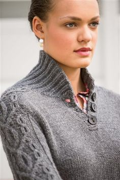 Hitch Pullover - Media - Knitting Daily - gorgeous! designed by Vanessa Ewing. Shawl collar, cables, buttons. I am so in love!