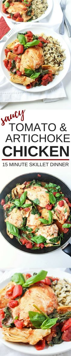 This Saucy Tomato & Artichoke Chicken is one of my favorite 15-minute dinners! Just one pan, 4 ingredients, and 15 minutes stand between you and a flavorful, healthy dinner. So good!