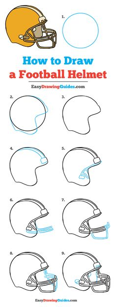 How to Draw a Football Helmet - Really Easy Drawing Tutorial Learn to draw a football helmet. This step-by-step tutorial makes it easy. Kids and beginners alike can now draw a great looking football helmet.