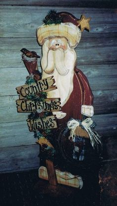 Country Christmas Wishes Standing Santa $10.50