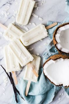 Coconut Cream Popsicles With Vanilla Bean And Malibu Rum