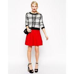 ASOS Skater Skirt In Structured Knit (€24) ❤ liked on Polyvore featuring skirts, red, pink skater skirt, red skater skirt, high waisted circle skirt, elastic waist skirt и red flared skirt