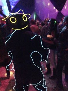 And like everything else at burning man — from the bikes to the art — even the costumes light up at night.