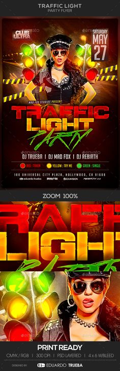 Traffic Light Party Flyer Template | Traffic light party, Traffic ...