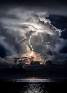 Stormy Night Sunrise by Taylor Newton Lightning Photography, Storm Photography, Nature Photography, Beautiful Sky, Beautiful Landscapes, Lightning Photos, Wild Weather, Image Nature, Thunder And Lightning