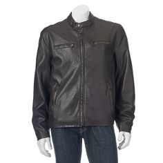 Men's Dockers Faux-Leather Classic Racer Jacket, Size: