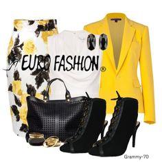 Si tienes una cita o reunión puedes utilizar este conjunto que se adapta perfectamente en cualquier  lugar destacando colores como el amarillo, blanco y negro, con unos zapatos de punta abierta para verte muy fashion y divertida. (Estilo: Grammy-70)