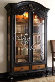 bookcase with black interior | home » study furniture » french bookcases » black & stained ...