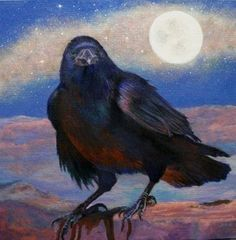 """Daily Paintworks - """"The Raven, the Moon, and the Milky Way"""" - Original Fine Art for Sale - © Sherry Bevins"""