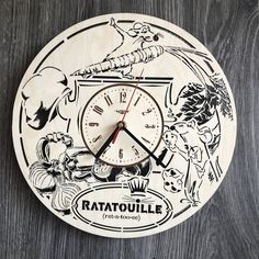 Ratatouille Wall Wood Clock  30 cm / 12 in☑️  Really  gift and unique home decoration  Can be personalized for   Free Shipping WORLDWIDE.  Tracking ID is provided✔️  ✅$39.99  For more photos and details contact us or visit our website  https://7arts.studi