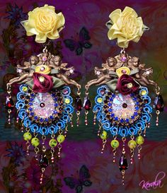 Extravagant Yellow and Turquoise Cupid Earrings, Large Colorful Statement Earrings, Garnet Gemstone, Ornate Rose Jewelry, Clip-On Option Buy Earrings, Rose Earrings, Clip Earrings, Turquoise Chandelier, Rose Jewelry, Jewellery, Garnet Gemstone, Love Symbols, Blue Crystals