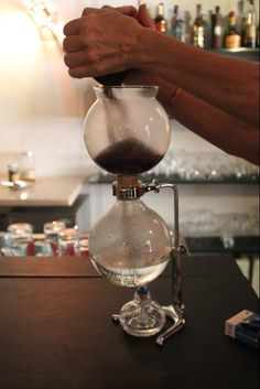 coffee siphon at a Portuguese coffee house