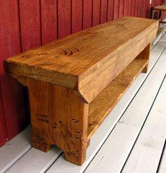 Classic Caramel Rustic Bench with Shelf.