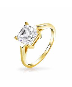 Bling Jewelry Bling Jewelry Gold Plated 925 Silver Princess Cut Cz 2ct Solitaire Engagement Ring