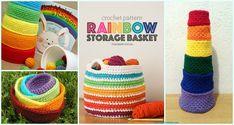 Crochet Rainbow Basket Free Patterns