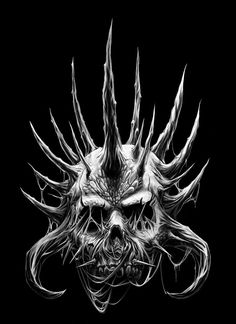 Skulls bones and spikes by Hiroshi-Ito on DeviantArt Dark Fantasy Art, Dark Art, Fantasy Artwork, Body Art Tattoos, I Tattoo, Skull Island, Grim Reaper, Skull And Bones, Skull Art