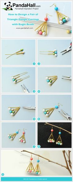 Triangle Dangle Earrings with Bugle Beads Do you know mathematics can be related with jewelry making? Today's share is about how to make a pair of triangle dangle earrings with bugle beads. #pandahall #diy #tutorial #howto #jewelrymaking #easyearrings #handmadeearrings