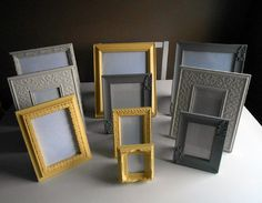 Ten Vintage Upcycled Picture Frames by FurnitureFusion on Etsy, $70.00; once i pick colors, i could get coordinating frames