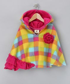 Take a look at this Yellow & Pink Plaid Hooded Poncho - Infant, Toddler & Girls by Million Polkadots on #zulily today!