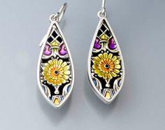 Ivy Woodrose sterling silver, PMC and resin enamel earrings
