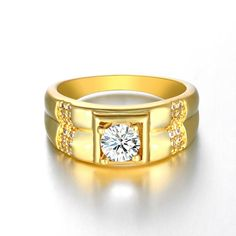 Vintage Wide Men's Rings with Stones Anel Color Gold Rings Wedding Jewelry Engagement Ringen Charms Jewellery Bague Mens Ring Designs, Gold Ring Designs, Colored Engagement Rings, Shop Engagement Rings, Gold Plated Rings, Gold Rings, Gents Gold Ring, Gold Ring Images, Stone Rings For Men