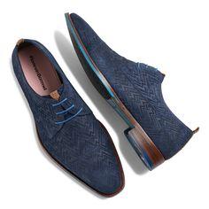 18001/00 - Floris van Bommel blue suede lace shoe with relief pattern