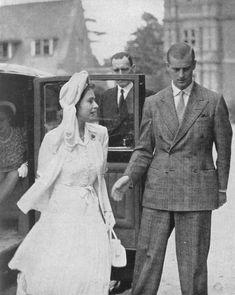 Princess Elizabeth (Queen Elizabeth II) and her fiance Prince Philip visit the Royal Merchant Navy School at Bearwood, Wokingham, 1947