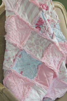 Baby Girl Rag Quilt Shabby Chic Rag Quilt Pink Blue door justluved