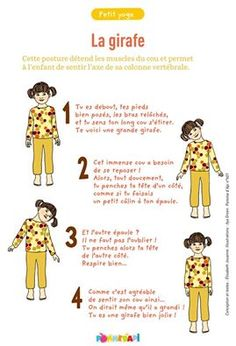 GIRAFFE: this posture relaxes the neck muscles and allows the child to . - GIRAFFE: this posture relaxes the neck muscles and allows the child to feel the axis of his spine. Gross Motor Activities, Physical Activities, Yoga Gym, Yoga Fitness, Yoga Bebe, Chico Yoga, Bhakti Yoga, Baby Yoga, Brain Gym