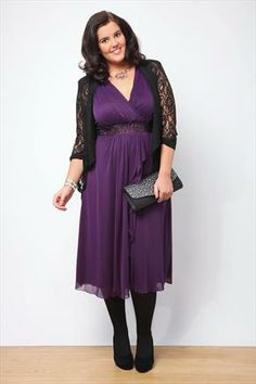 Purple Frill Front Embellished Waist Mesh Dress