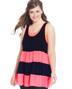 Ing Plus Size Top, Sleeveless Colorblocked Ruffle