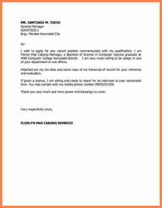 [ Example Application Letter Any Vacant Position For Job Vacancy Apply Sample ] - Best Free Home Design Idea & Inspiration Job Resume Samples, Sample Resume, Simple Application Letter, Senior Jobs, Resume Objective Examples, English Lesson Plans, Teacher Lesson Plans, Any Job, Infographic Templates