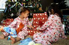 Matching Christmas jammies. Christmas pajamas. Christmas morning.