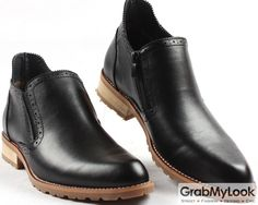 GrabMyLook Vintage Black Leather Mens Point Head Ankle Boots Shoes
