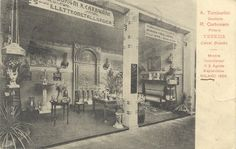 Cartolina - A. Tamburlini scultore e R. Carbonaro pittore - Mostra incendiatasi il 3 agosto