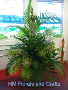 palm arrangements for palm sunday | Palm Sunday arrangement: palms, song of india, dracaena and ...