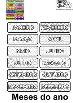Meses do Ano Color Activities For Toddlers, Preschool Activities, Learn Brazilian Portuguese, Sequencing Cards, Portuguese Lessons, Portuguese Language, Preschool Kindergarten, Social Studies, Professor