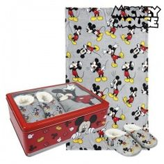 Metal Box With Blanket And Slippers Mickey Mouse 73668