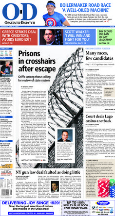 The front page for Tuesday, July 14, 2015: Prisons in crosshairs after escape