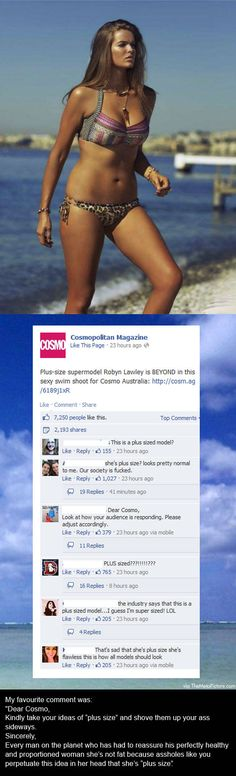 """Dear Cosmo, Kindly take your idea of ""plus size"" and shove them up your ass sideways."""