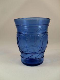 Vintage Hazel Atlas Blue Depression Glass - Ring O' Rings pattern - one Whiskey…