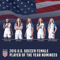 U.S. Soccer announces nominees for the 2016 Female Player of the Year award. Winner will be revealed on Dec. 11.