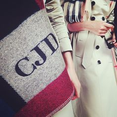 A close up of @CaraDelevingne's cashmere blanket poncho at the #Burberry A/W14 campaign shoot